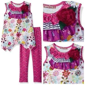 Jelly The Pug Matching Sets - Jelly The Pug Legging Set Tulip Floral Knit Top 2T